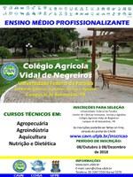 Processo Seletivo para 200 vagas nos cursos técnicos em Agropecuária, Agroindústria, Aquicultura e Nutrição e Dietética.